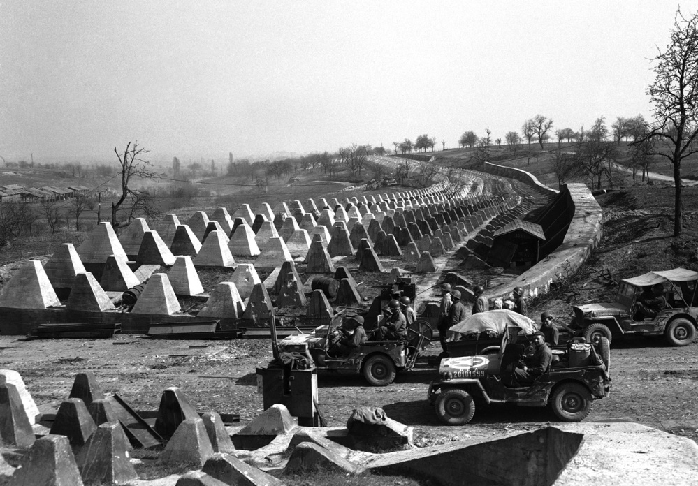 US Jeeps at the Siegfried Line 1945