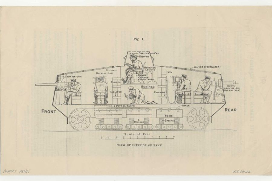 Technical drawing showing the inside of a German A7V tank